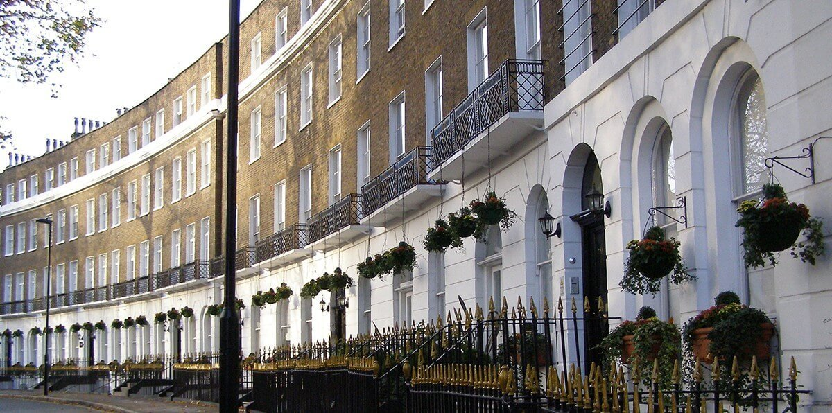 Detail of London terraced buildings